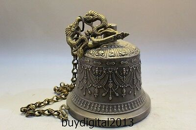 "9/"" China Bronze Buddhism Auspicious Dragon Head Man Statue Temple Bell"