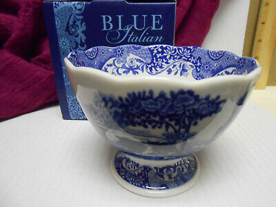 Spode Blue Italian ~ Footed Dish Lovely Blue & White Nibble Nut or Rice Bowl NIB