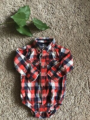 Carters Baby Toddler Flannel Plaid Button Down Boy Shirt Bodysuit 18m Nwot Red