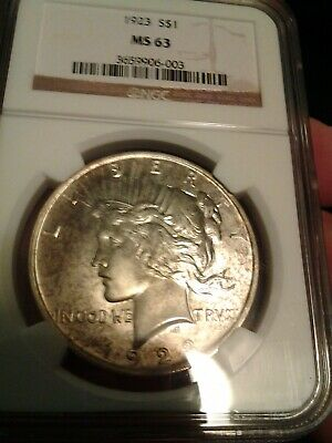 1923 Peace Dollar Silver Coin NGC MS 63 Toned