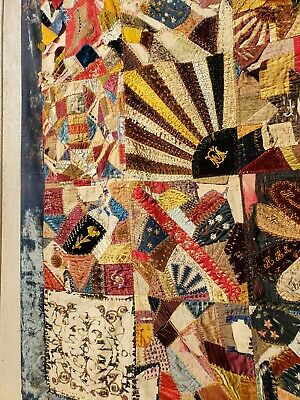 """EMBROIDERED GORGEOUS VICTORIAN (1880s) CRAZY QUILT-SILKS AND VELVETS """"JEN"""""""