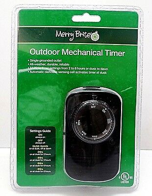 MERRY BRITE Outdoor Mechanical Timer All Weather Multi- Settings New in Package