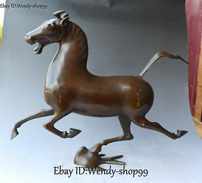 """17"""" Chinese Pure Bronze Fengshui Running Horse Stepping Flying Swallow Statue"""