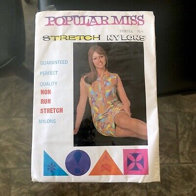 Vintage 60s 'POPULAR MISS' Stretch SHEER Non RUN Stockings NYLONS Size 9.5-10