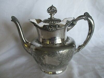 Antique Vintage Wilcox Silver Plate Quadruple Plate Coffee Teapot Ornate