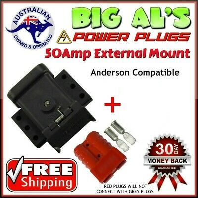 50Amp TrailerVision Mounting Mount Kit Bracket Anderson Cap Cover + 1 RED Plug