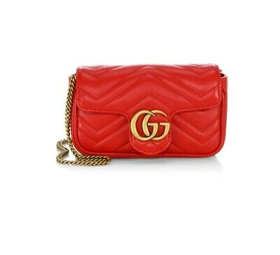 b0c484bc837 Gucci GG Marmont Matelasse Leather Mini Chain Camera Bag Red New  980