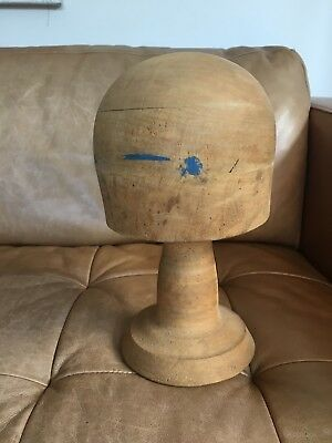 Vintage Timber Millinery Hat Block With Stand