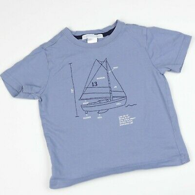 Toddler Janie & Jack T Shirt 18-24 Month Summer Top Baby Blue Embroidered Boat