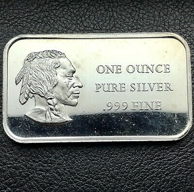 Vintage Indian Head Madison Mint 1 Troy ounce .999 Fine Silver Art Bar (9080)