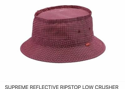 92886a68 SUPREME REFLECTIVE RIPSTOP Low Crusher Bucket Hat Size S/M Cranberry ...