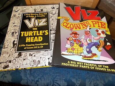 VIZ ANNUALS x 2  HARDBACK BOOKS THE CLOWNS PIE & THE TURTLES HEAD 1996 / 2001