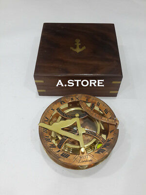 Beautiful Nautical  Sundial Compass Brass West London with Anchor Wooden Box