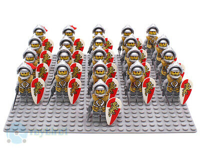 21PCS Medieval Castle Lord Red Lion Milan Helm Knight Army Building Blocks Toys