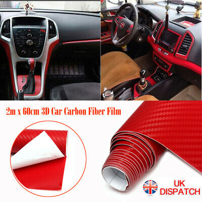 3D Carbon Fibre Vinyl - Sheet Wrap Sticker - Bubble Free - Car Red ~ HYPERLEX