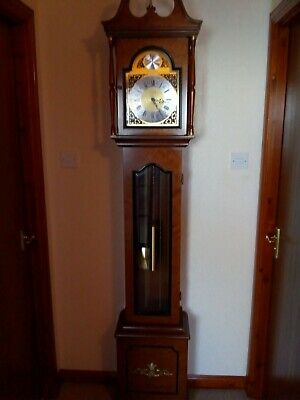 "Grandfather Clock,  ""Artime"", approx 45 years old, dark wood case, good working"