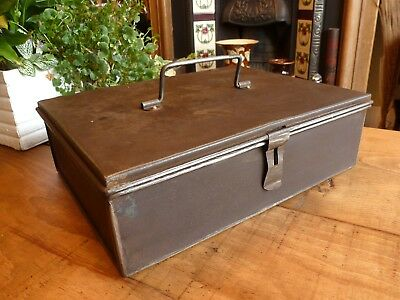 Vintage Steel Box Distressed Patina Clean Oiled Storage Retro Industrial Cool