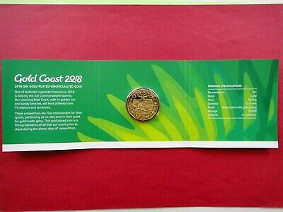 2018 50c Fifty Cents Gold Plated Coin Gold Coast XXI Commonwealth Games #1