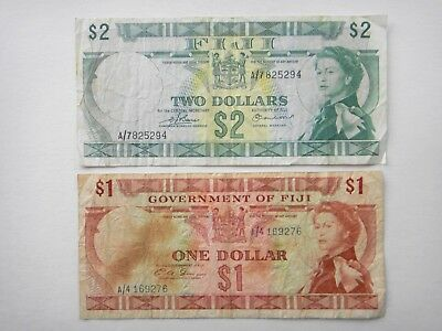 FIJI  $1 $2  Old Paper Banknotes Circulated  VF Condition