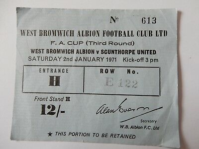 West Bromwich Albion V Scunthorpe United 1971 Fa Cup Third Round Ticket Stub 32