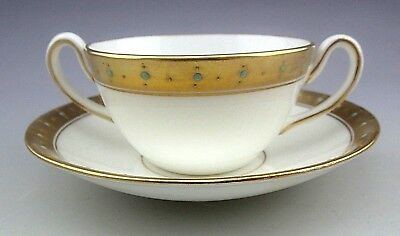 Antique Adderley England Gold Blue Dots Bouillon Cup and Saucer