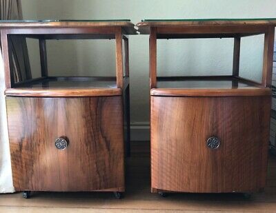 Vintage Bedside Cabinets French Polished Wood Veneer glass tops good condition