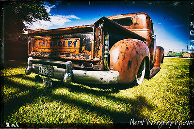 12x18 in. Poster 1950 Chevy Pick Up Truck, Hot Rod Garage Art Man Cave Decor
