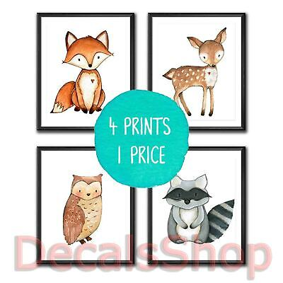 Nursery Prints Woodland Friends - Set of 4 - Decor Wall Art - Unframed A4 Size