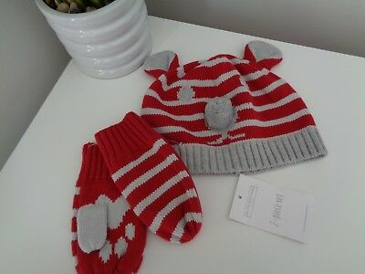 The Little White Company Red Bear Face Cotton Knit Hat & Mittens Gloves age 3-6