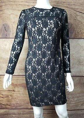f9753356 Zara Basic Dress Size Small Bodycon Lace Overlay Long Sleeve Black Womens  (a14)
