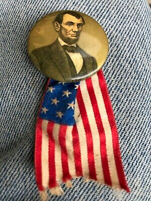 Vintage Abraham Lincolns Political Button With Flag L/3
