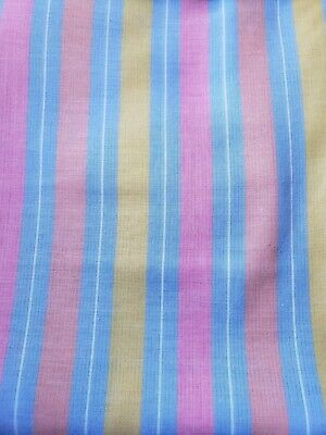 Sewing Fabric Light Cotton Chambray Stripe Blue Pink Yellow Peach 1.33ydsx45""