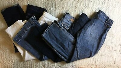Old Navy Maurices Blue White Jean Capris Women Size 5/6, 30/31 Waist Lot Of 5