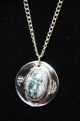 Sterling Silver 925 Chain Green & White Moss Agate Gemstone Pendant Necklace 18""