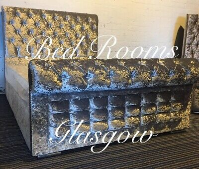 Modern Chesterfield Upholstered Diamante Sleigh Bed Frame Double & King Size