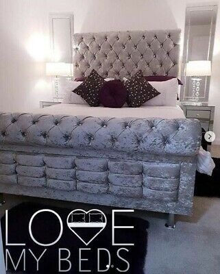 Modern Chesterfield Upholstered Diamante Sleigh Ii Bed Frame Double & King Size