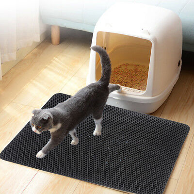 Clean Double-Layer Cat Litter Mat Trapper Foldable Pad Pet Rug EVA Foam Rubber
