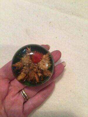 Vintage Small Real Flowers Retro Handmade Art Resin Lucite Acrylic Paperweight