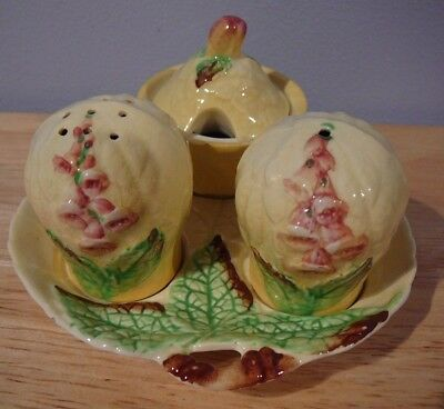 Carlton Ware Round Yellow Salt & Pepper,Mustard Pot,Condiment Set Foxglove