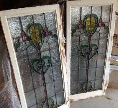 Antique 1920's leaded stained glass windows.