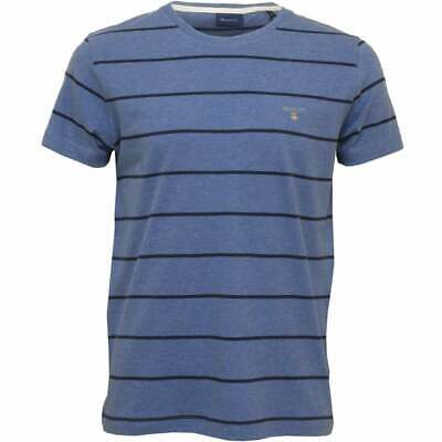 Gant Breton Stripe Crew-Neck Men's T-Shirt, Denim Blue Melange