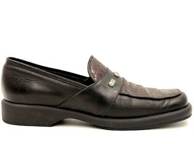 a460d375a58 SESTO MEUCCI Women Moc Toe Loafers Size 5.5 Brown Alligator Print Leather