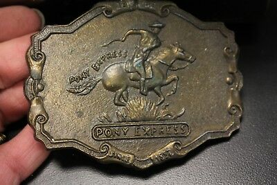 "Vintage Brass Plated Belt Buckle PONY EXPRESS Rider 3.5"" by 2.75"" Western  look"