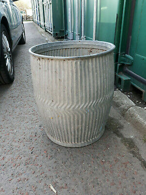 VINTAGE GALVANISED WASHING DOLLY TUB Peggy Planter Industrial with poss stick