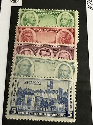 Scott #785-789/1936-37 Army/Navy Series - 5 Stamps MLH