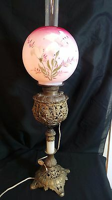 Victorian Gone With The Wind Style  Parlor Lamp Hand Painted Ball