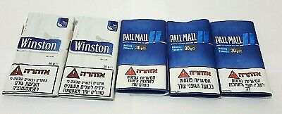 LOT OF 5 Empty cigarette rolling tobacco bags 2 Winston Blue 3 Pall Mall  Blue