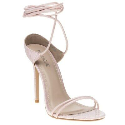 25ee8622d4c New Womens Public Desire Pink Natural Rudie Synthetic Sandals Animal Straps
