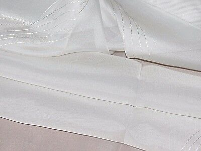"Embroidered ivory voile net curtain fabric remnant 60x95 cm (23x37"")"