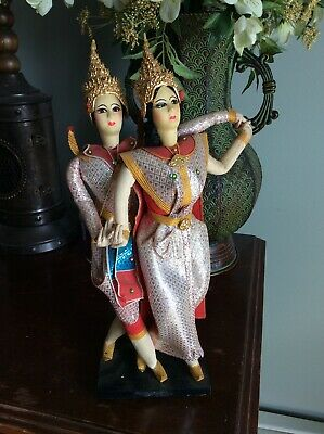 Vintage Hand Made Crafted Dancing 2 DOLLS  made in Thailand Bollywood